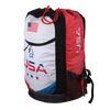 Side of wrestling gear bag with USA Alpha Wrestling on front, dye sublimated printing, red drawcord.