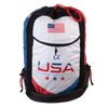 Front of wrestling gear bag with USA Alpha Wrestling on front, dye sublimated printing, red drawcord.