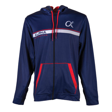 Front of navy, red and white full zip up hoodie, Alpha Authencis on front, pouch, red drawcord, dye-sublimated printing.