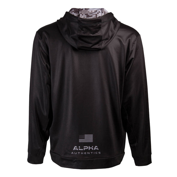 Back of black full zip up hoodie, Alpha Authencis with USA Flag, dye-sublimated printing.
