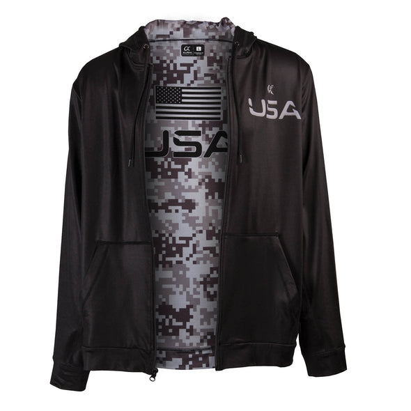 Front of black full zip up hoodie, USA on front left chest, digital camo pattern printed inside lining, dye-sublimated printing.