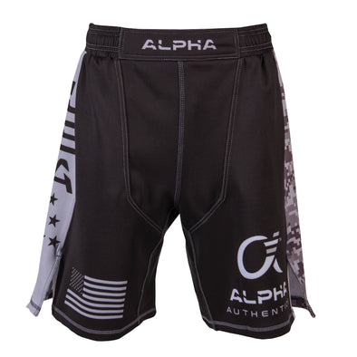 Front of black and grey fighter shorts used for wrestling, USA flag on right leg, Alpha Authentics logo on left leg.