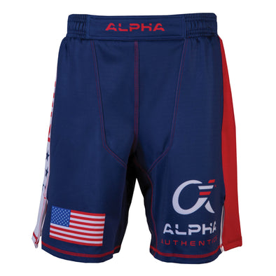 Front of red, white and blue fighter shorts used for wrestling, USA flag on right leg, Alpha Authentics logo on left leg.