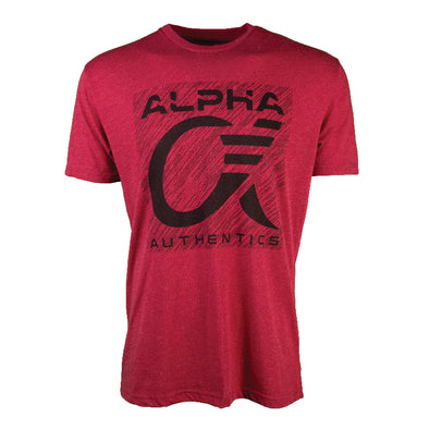 Maroon short sleeve t-shirt with Alpha Authentics logo on front.