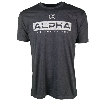 Charcoal grey short sleeve t-shirt with ALPHA, We Are United printed on front.