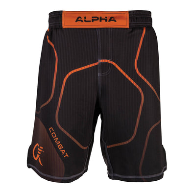 Front of orange and black fighter shorts used for wrestling, thin vertical strips, large hexagon pattern, Combat written on right leg.