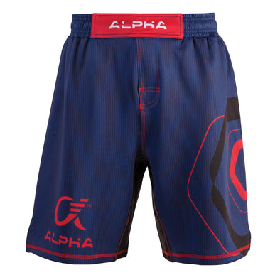 Front of blue,  red and black fighter shorts used for wrestling, thin vertical strips, large hexagon design on left leg, Alpha Authentics logo on right leg.