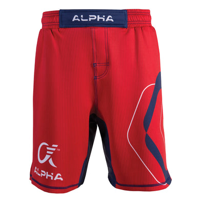 Front of red, blue and white fighter shorts used for wrestling, thin vertical strips, large hexagon design on left leg, Alpha Authentics logo on right leg.