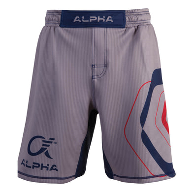 Front of grey,  red and blue fighter shorts used for wrestling, thin vertical strips, large hexagon design on left leg, Alpha Authentics logo on right leg.