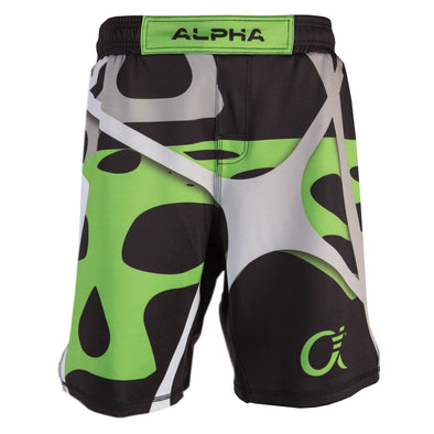 Front of green, black and grey fighter shorts used for wrestling, abstract web pattern, Alpha logo on left leg.