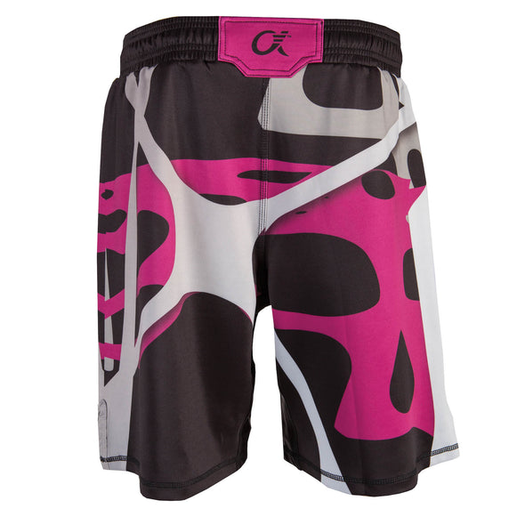 Back of magenta, black and grey fighter shorts used for wrestling, abstract web pattern.