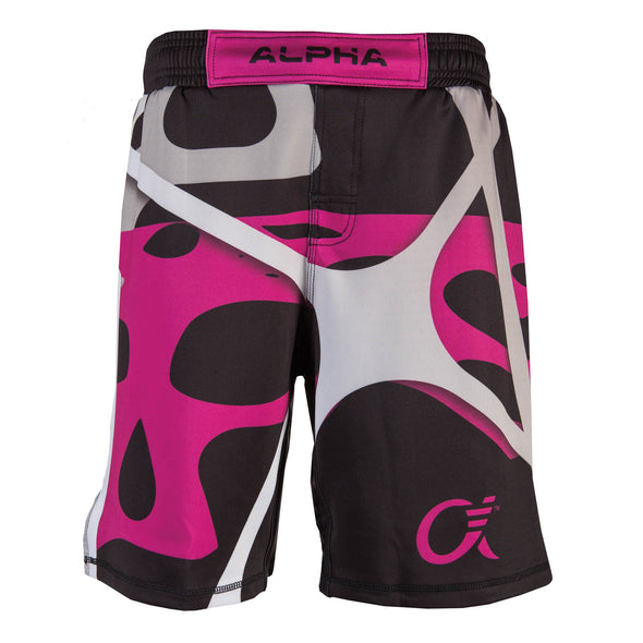 Front of magenta, black and grey fighter shorts used for wrestling, abstract web pattern, Alpha logo on left leg.