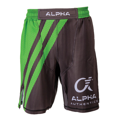 Front of green and grey fighter shorts used for wrestling, hex pattern, thin vertical stripes, large diagonal stripes, Alpha Authentics logo on left leg.