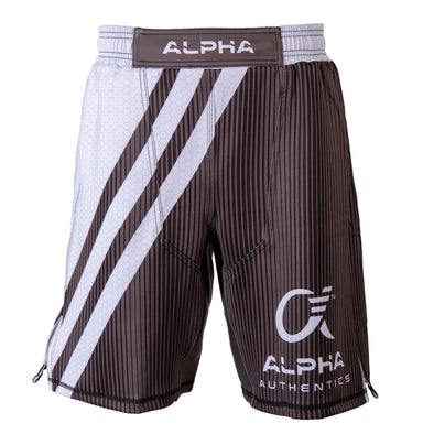 Front of white and grey fighter shorts used for wrestling, hex pattern, thin vertical stripes, large diagonal stripes, Alpha Authentics logo on left leg.