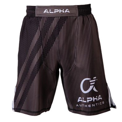 Front of black and grey fighter shorts used for wrestling, hex pattern, thin vertical stripes, large diagonal stripes, Alpha Authentics logo on left leg.