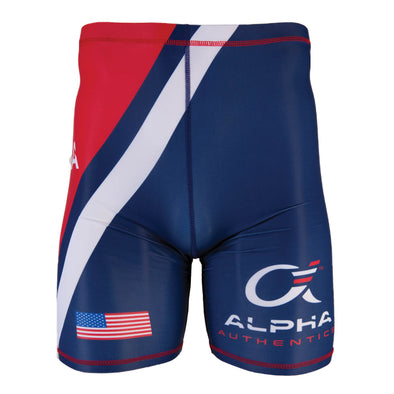 Red, white and blue USA compression shorts with USA flag and Alpha Authentics logo.