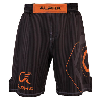 Front of orange and black fighter shorts used for wrestling, thin vertical strips, large hexagon design on left leg, Alpha Authentics logo on right leg.