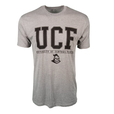 Front of athletic heather short sleeve t-shirt with UCF block letters and University of Central Florida.