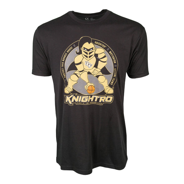Front of black UCF short sleeve t-shirt with Knightro as football player at center position.