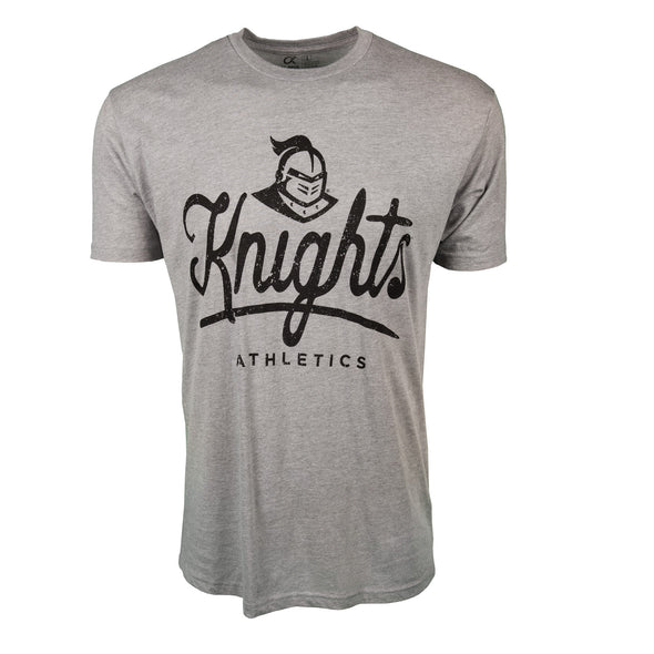 Front of athletic heather short sleeve t-shirt with Knights Athletics and Knightro logo.