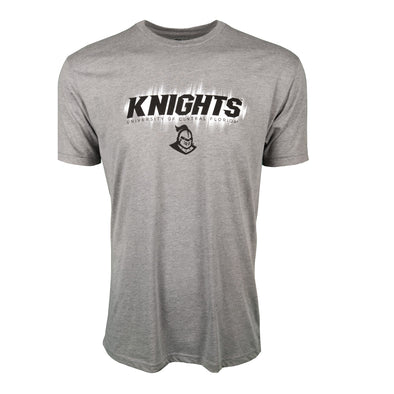 Front of athletic heather short sleeve t-shirt with Knights and University of Central Florida.