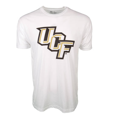 Front of white short sleeve t-shirt with UCF logo.