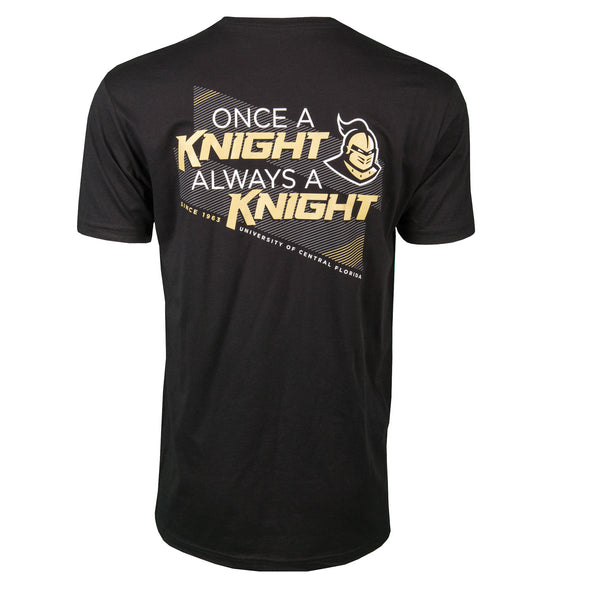 Back of black short sleeve t-shirt with Once a Knight, Always a Knight and the official Knightro logo, since 1963 and University of Central Florida.