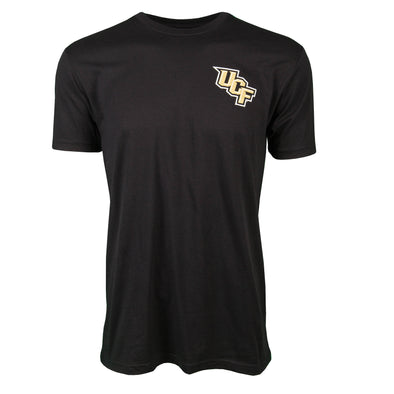 Front of black short sleeve t-shirt with UCF logo on left chest.