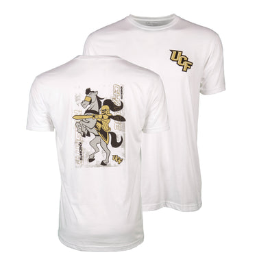 Front and back of white short sleeve t-shirt with UCF logo and illustration of Knightro and Pegasus.