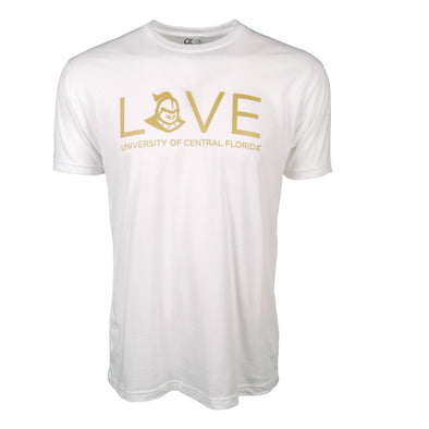 Front of white short sleeve t-shirt with LOVE and University of Central Florida with Knightro logo.