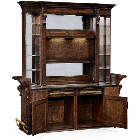 Jonathan Charles Tudor Oak Linenfold Dark Oak Home Bar 494492 inside