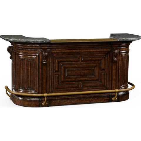 Jonathan Charles Tudor Oak Linenfold Dark Oak Home Bar 494492 Front