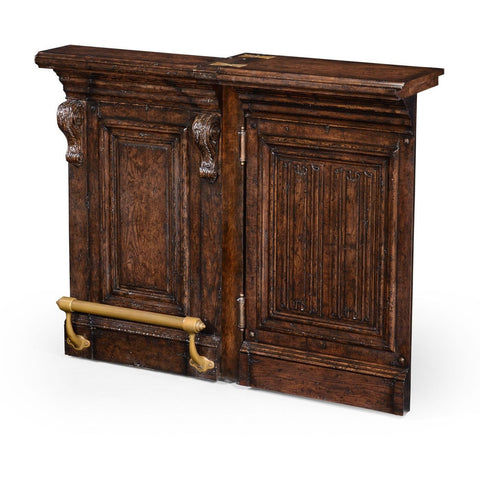 Jonathan Charles Tudor Oak Linenfold Dark Oak Home Bar 494492 Other Side