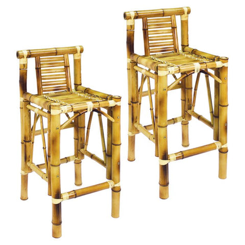 Swell Ram Game Room Set Of Two Bamboo Tiki Bar Stools Customarchery Wood Chair Design Ideas Customarcherynet
