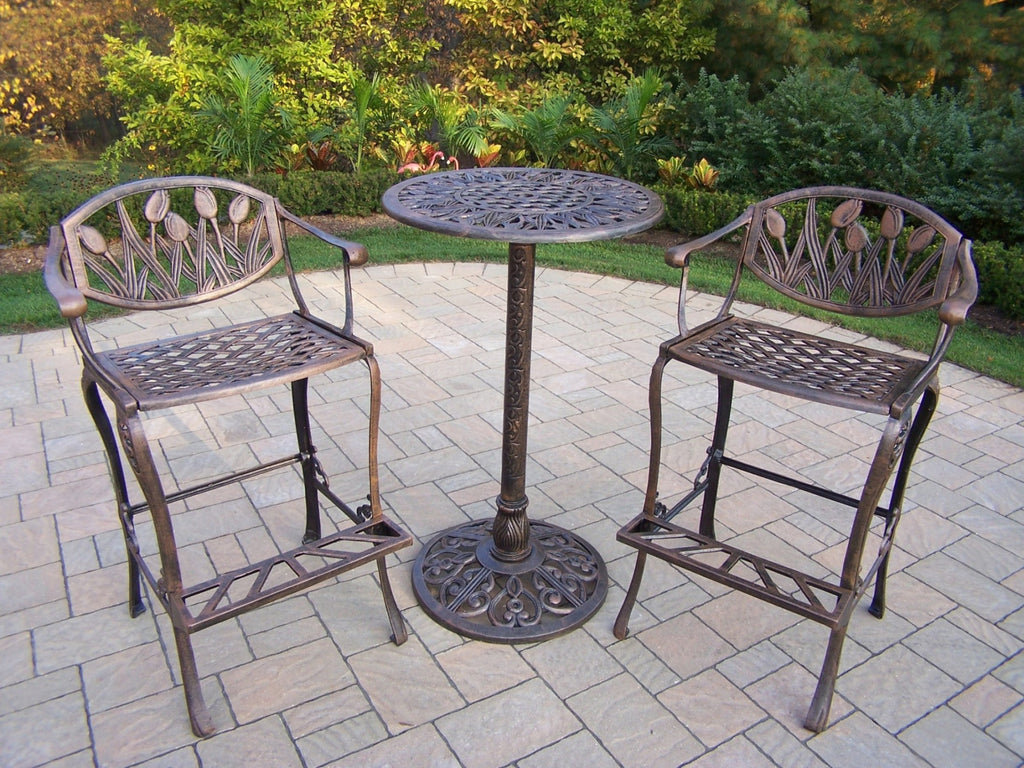 Oakland Living Tulip Cast Aluminum 3 Pc. Bar Set with comfortable foot-rests