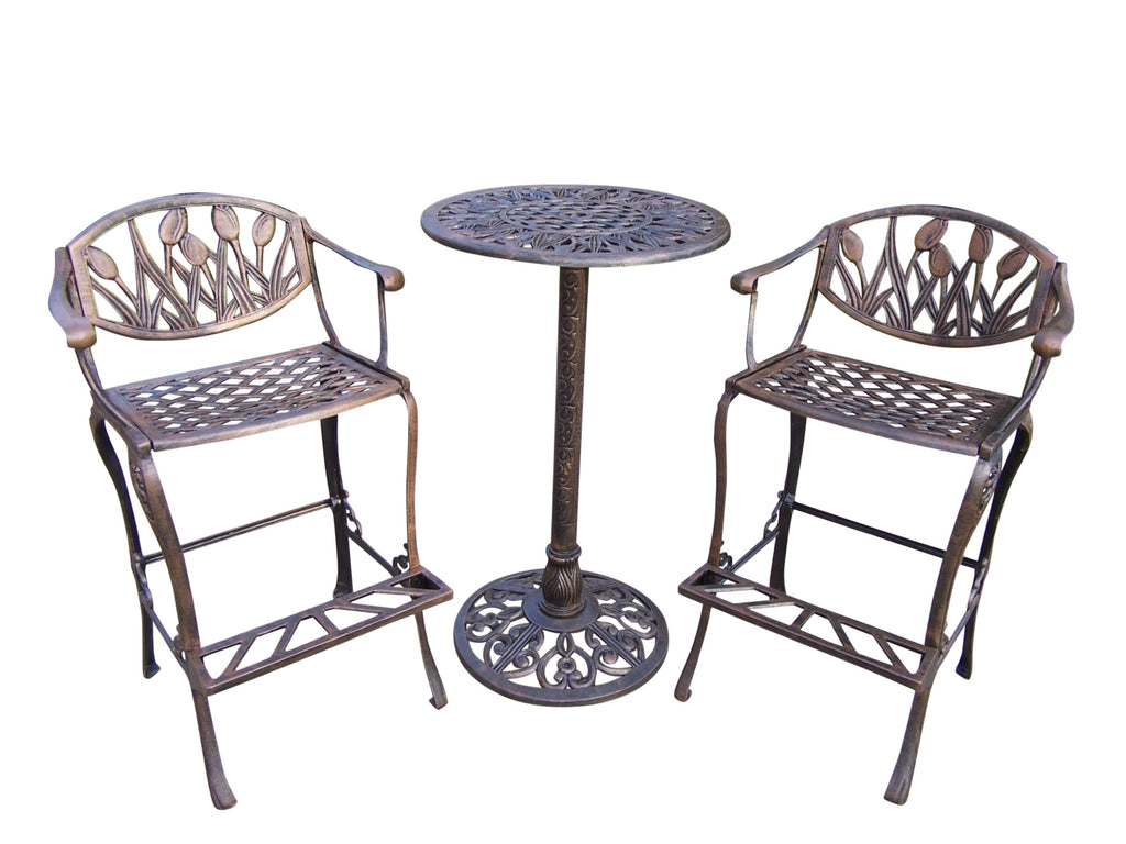 Oakland Living Tulip Cast Aluminum 3 Pc. Bar Set with comfortable foot-rests - Perfect Home Bars