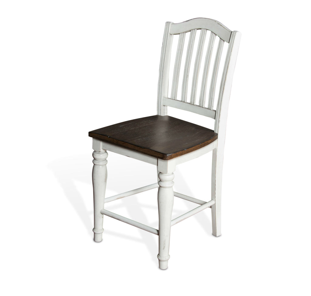 "Bourbon County Slat-back Bar Stool - 24"" Seat Height Front Corner View"