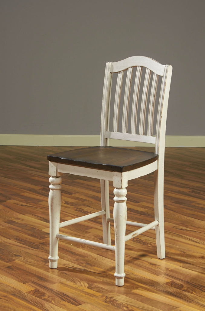"Bourbon County Slat-back Bar Stool - 24"" Seat Height Live View"