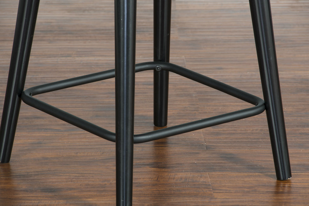 "Black Bar Stool - 24"" Seat Height Legs Detail View"