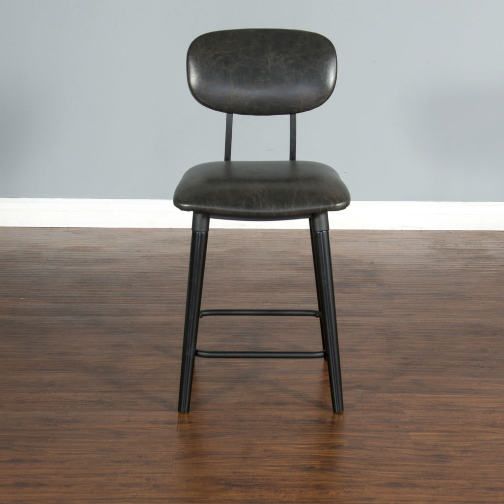 "Black Bar Stool - 24"" Seat Height Front View"