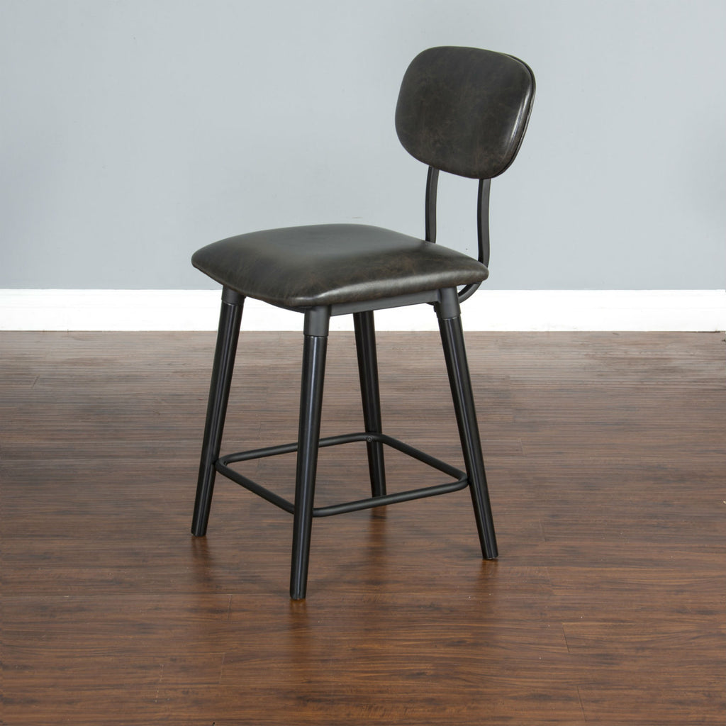 "Black Bar Stool - 24"" Seat Height Corner View"