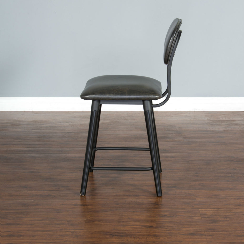 "Black Bar Stool - 24"" Seat Height Side View"