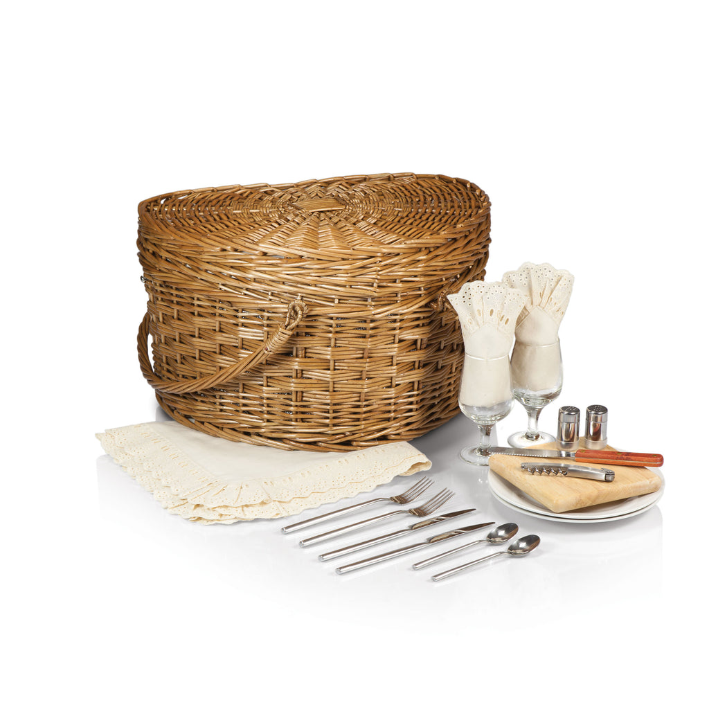 Picnic Time Heart Basket- Willow with Cream Lining - Perfect Home Bars