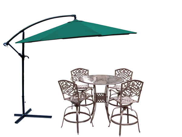 Oakland Living Hummingbird Mississippi Cast Aluminum Swivel Patio Bar Set with Cantilever Umbrella - Seats 4