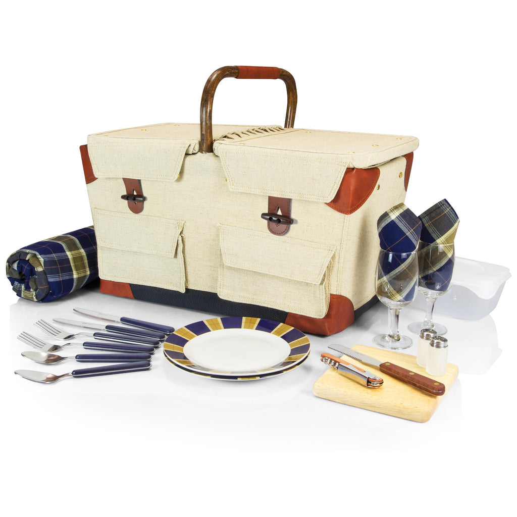 Picnic Time Pioneer Basket - Canvas With Navy/Khaki Plaid - Perfect Home Bars