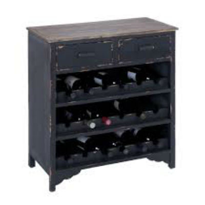 Benzara/Woodland Inports Distressed Dark Wooden Wine Cabinet with Drawers