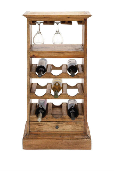Benzara/Woodland Imports Sleek Wood 9-Bottle Wine Rack - Perfect Home Bars