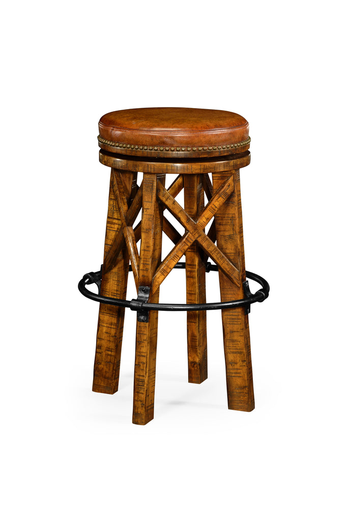 Jonathan Charles Bar Stool Revolving Seat Available in Antique Dark Grey, Country Walnut or Rustic Grey - Perfect Home Bars