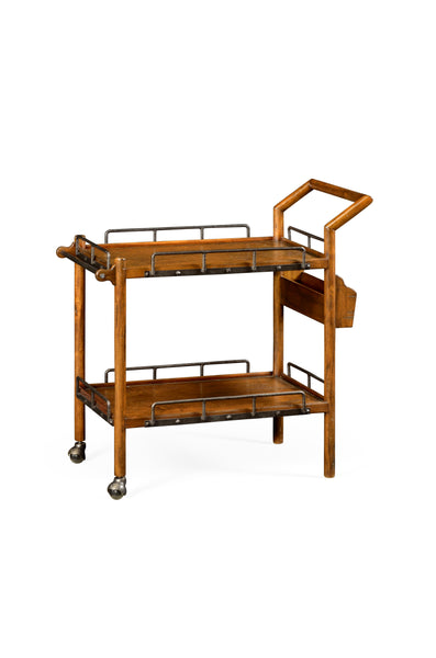 Jonathan Charles Country Walnut Bar Cart - Perfect Home Bars