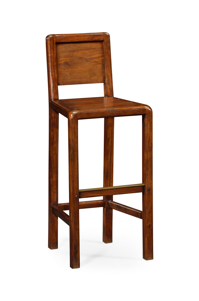 Jonathan Charles Planked Walnut Barstool (Side) - Perfect Home Bars